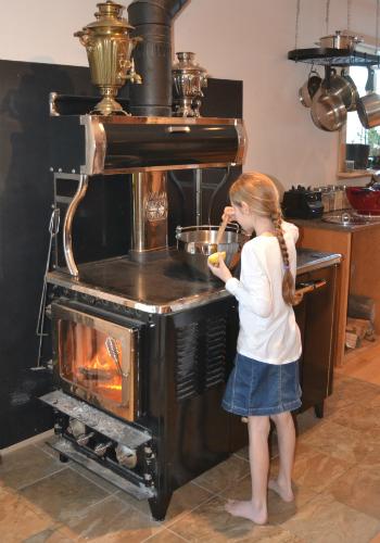Katia at the stove