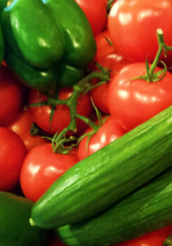 Tomatoes, cucumbers and peppers